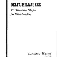 "No. 27-100 Delta-Milwaukee 8"" precision shaper for Metalworking Instruction Manual"