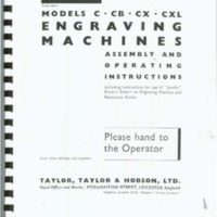 Taylor-Hobson Models C, CB, CX, CXL Engraving Machines